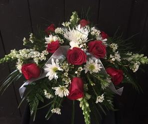 Red and white tribute from Faught's Flowers & Gifts, florist in Jonesboro