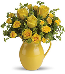 Sunny Pitcher Of Roses from Faught's Flowers & Gifts, florist in Jonesboro